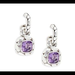 John Hardy Sterling Silver Amethyst Drop Earrings
